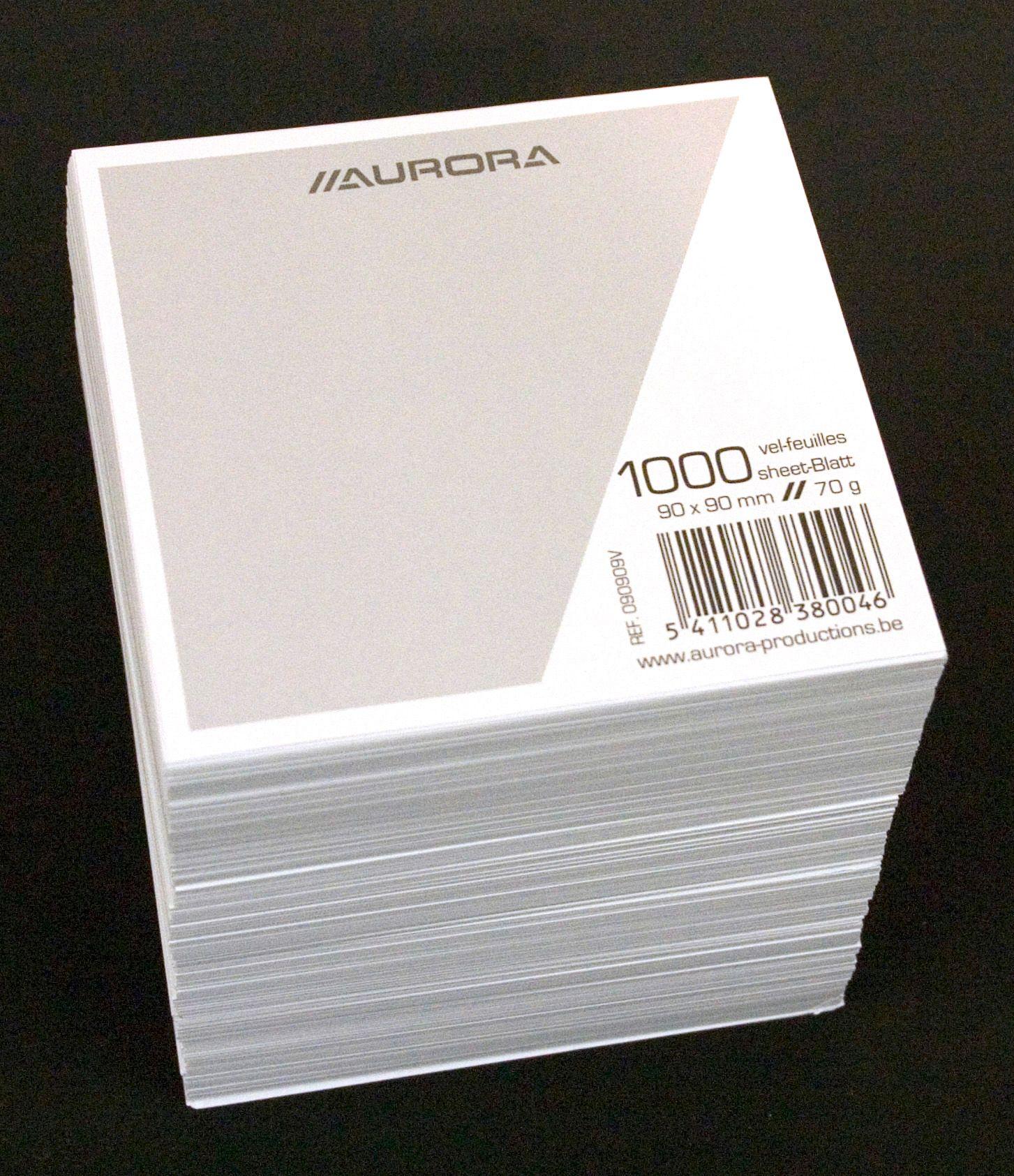Rezerva cub hartie alba 9x9x9cm, Aurora
