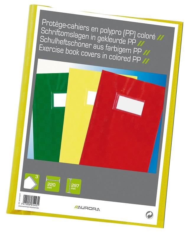 Coperta pentru caiet A4, PP - 120 microni, cu eticheta, 3 buc/set, Aurora - culori asortate