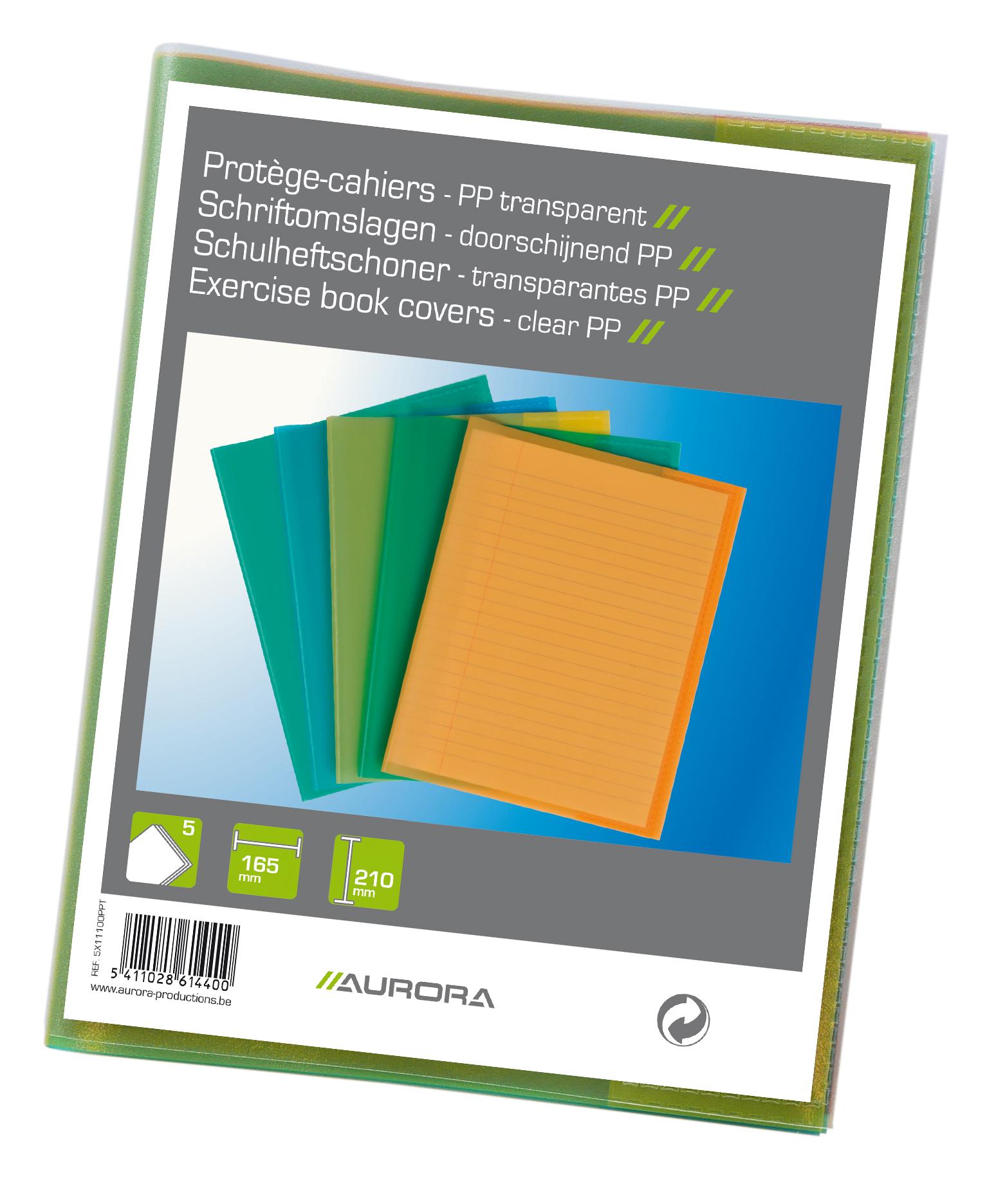 Coperta pentru caiet A5, PP - 120 microni,  5 buc/set, Aurora - transparent color asortate