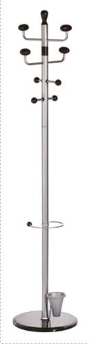 Cuier metalic argintiu ALCO, 180/38cm, 8 agatatori metalice, accesorii din lemn negru, suport umbrel