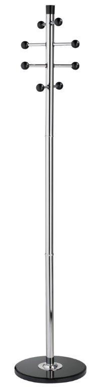 Cuier metalic cromat ALCO, 175/38cm, 8 agatatori metalice cu accesorii din lemn negre