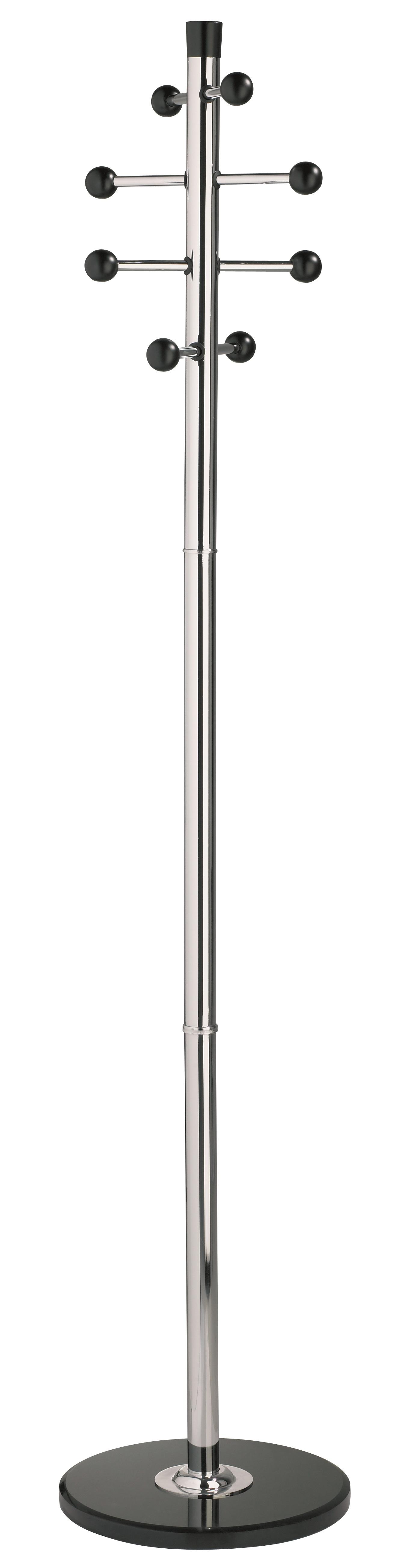Cuier metalic argintiu ALCO, 175/38cm, 8 agatarori metalice cu accesorii din lemn, suport umbrele