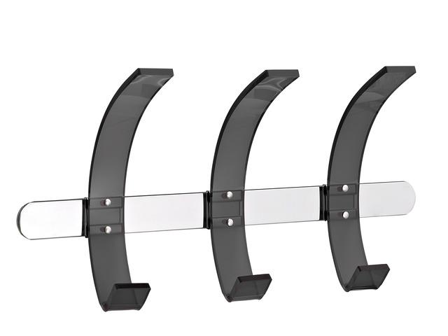 Cuier metalic cromat ALCO Design, de perete, cu 3 agatatori din acril