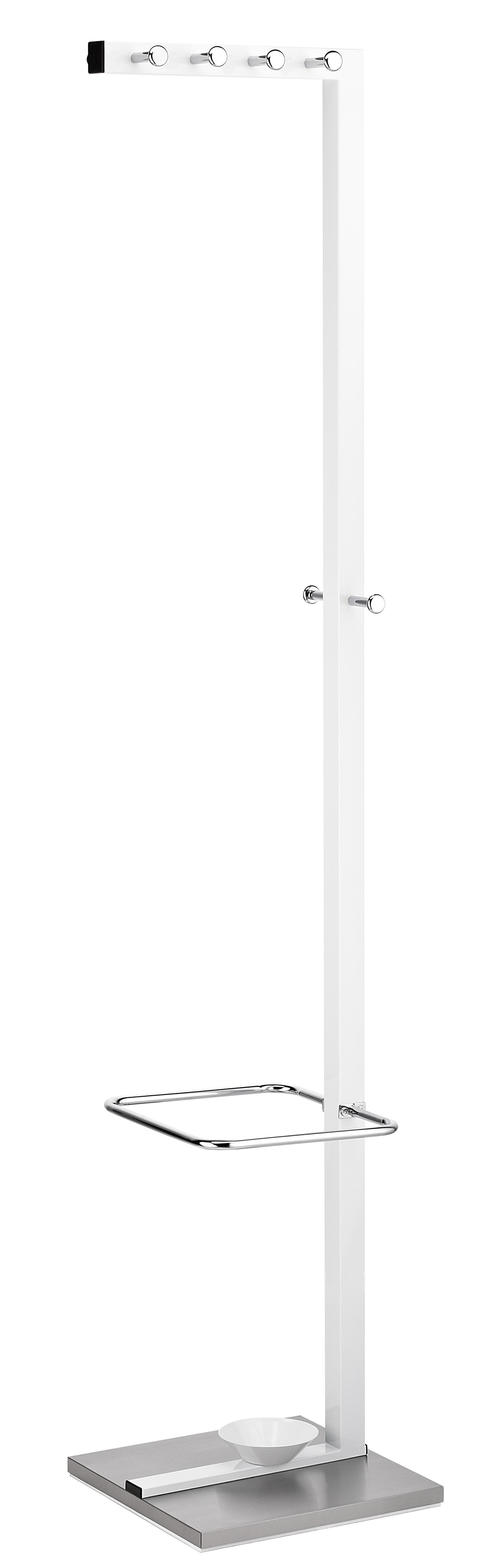 Cuier metalic ALCO Design, cu 10 agatatori cromate, suport umbrele - alb/stainless steel