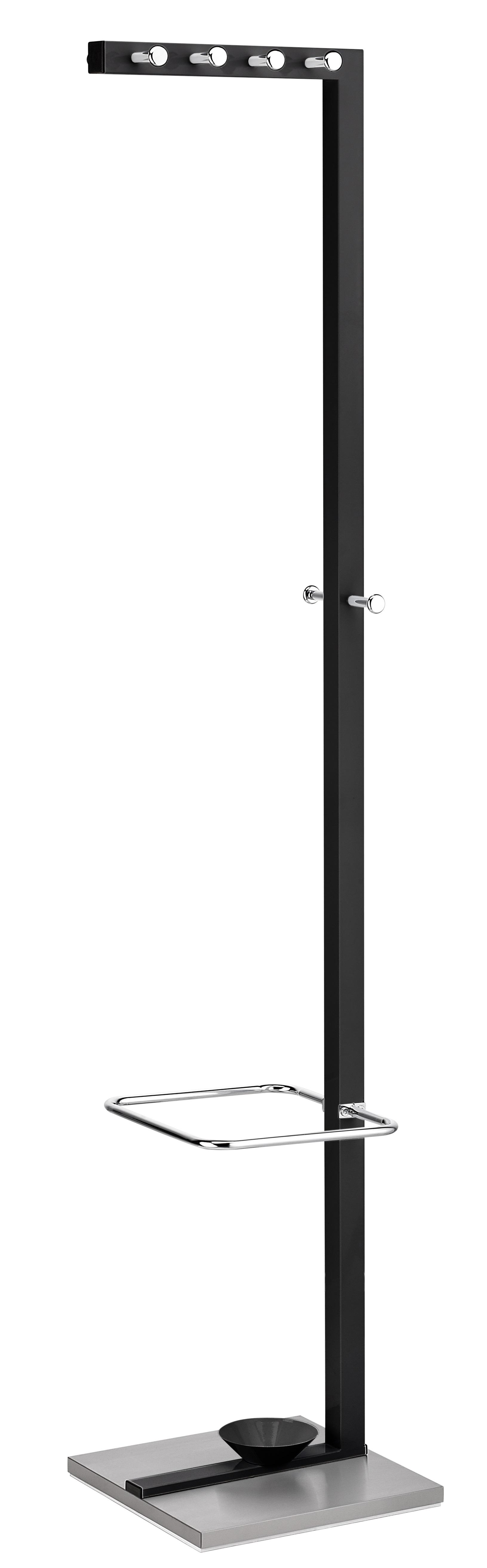 Cuier metalic ALCO Design, cu 10 agatatori cromate, suport umbrele - negru/stainless steel