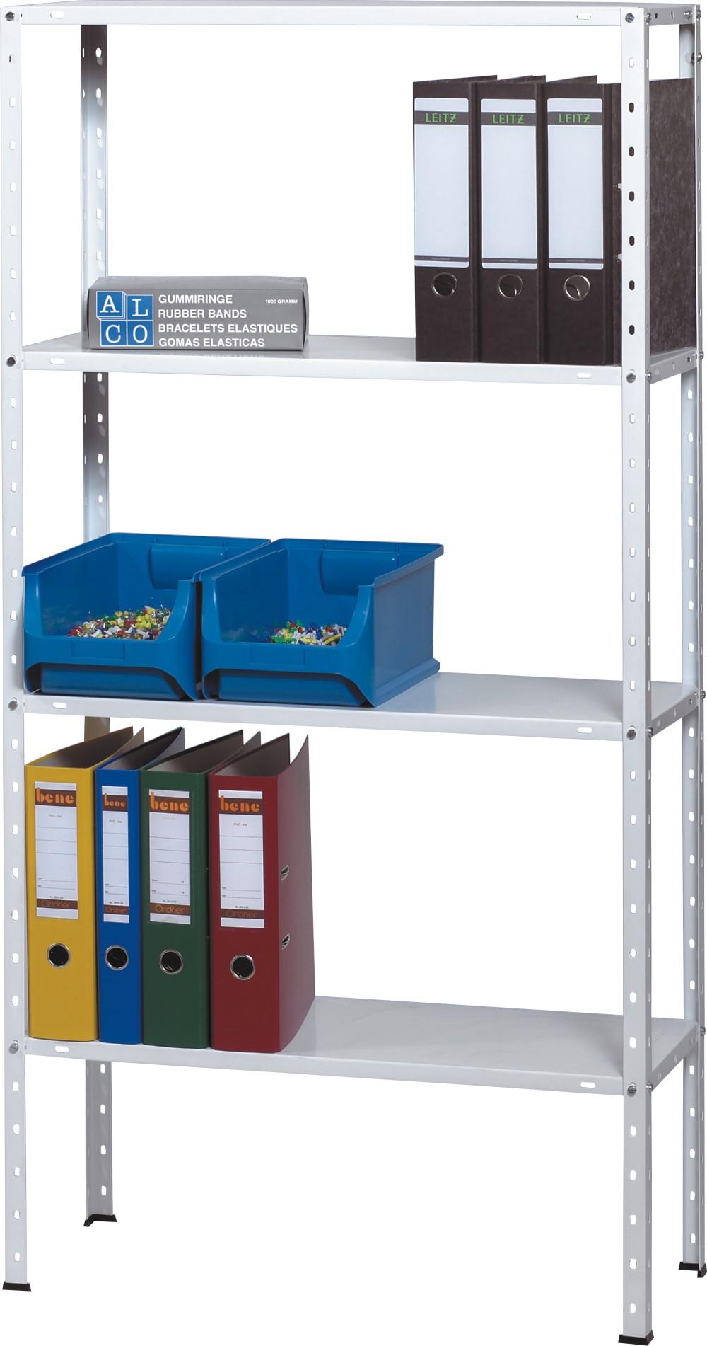 Raft metalic cu  5 polite metalice, 150 x 30 x 75cm, capacitate incarcare 30kg/polita, ALCO - alb