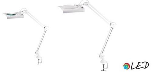 Lampa cu led, 12.4W, 4575 lux - 30cm, cu brat dublu flexibil, lupa incorporata, clema prindere, Alco
