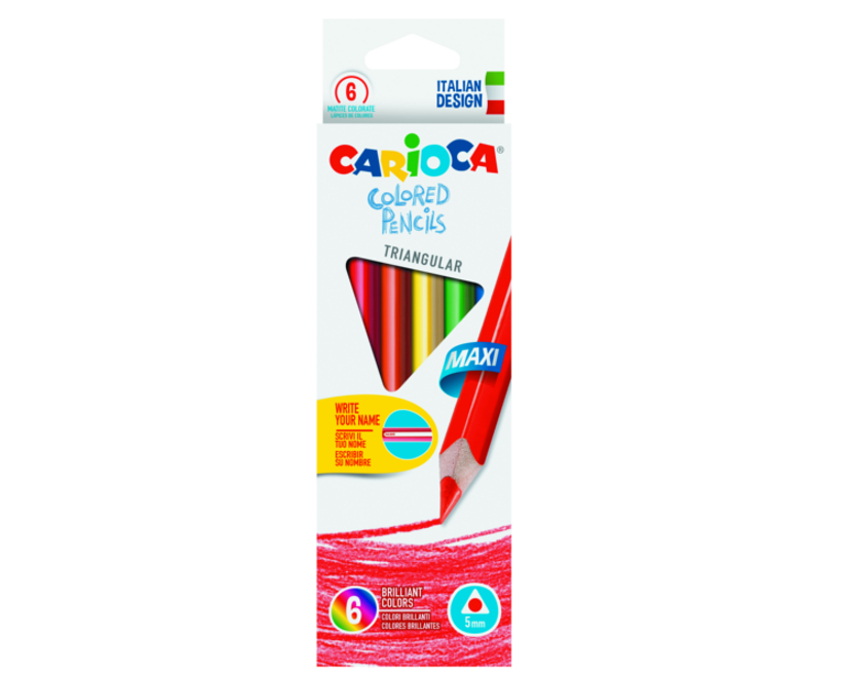 Creioane colorate, hexagonale,  6 culori/cutie, CARIOCA Jumbo