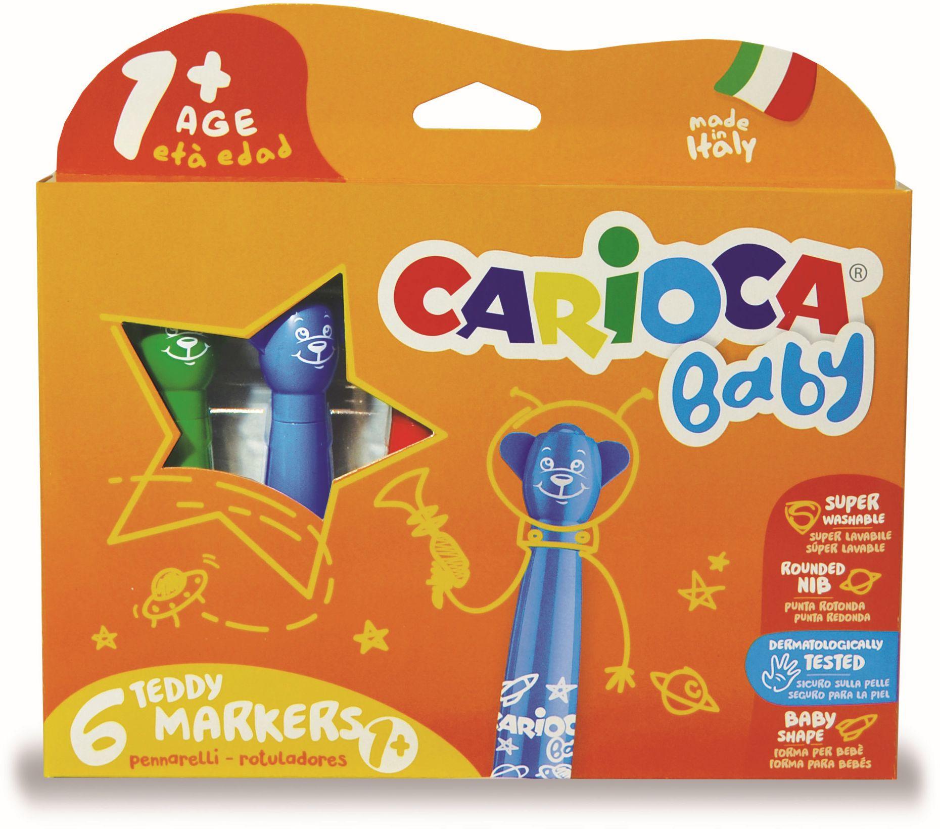 Carioca super lavabila,  6 culori/cutie, CARIOCA Baby Teddy +1