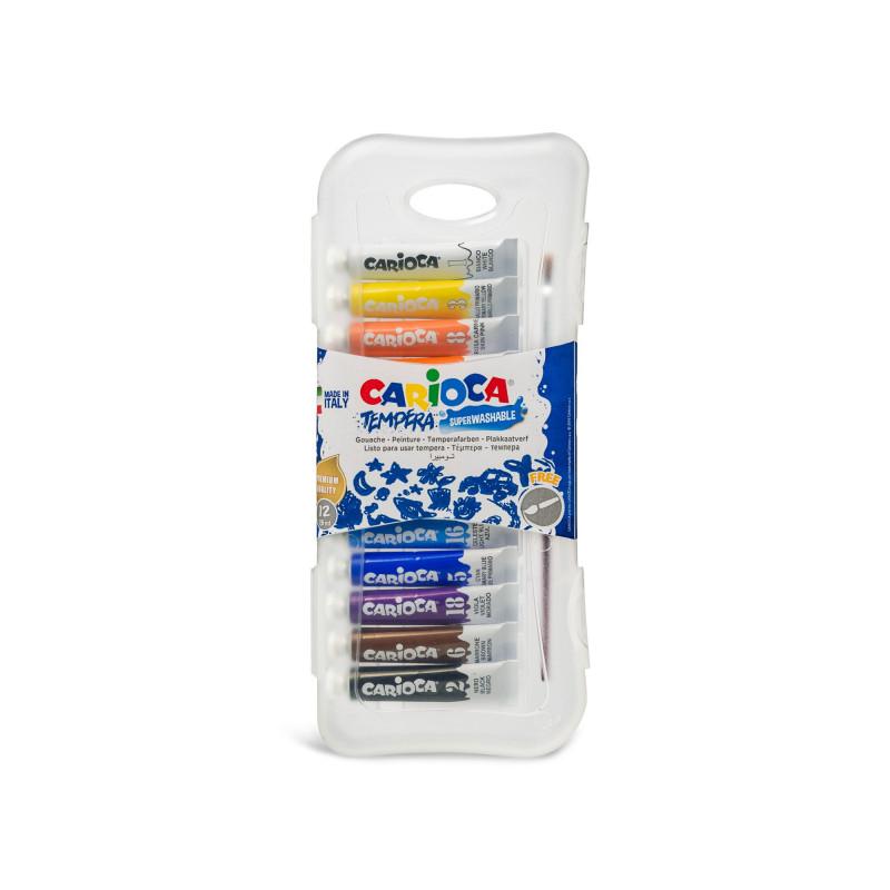 Tempera lavabila, 12 culori x 7.5ml/set   pensula gratis, Carioca