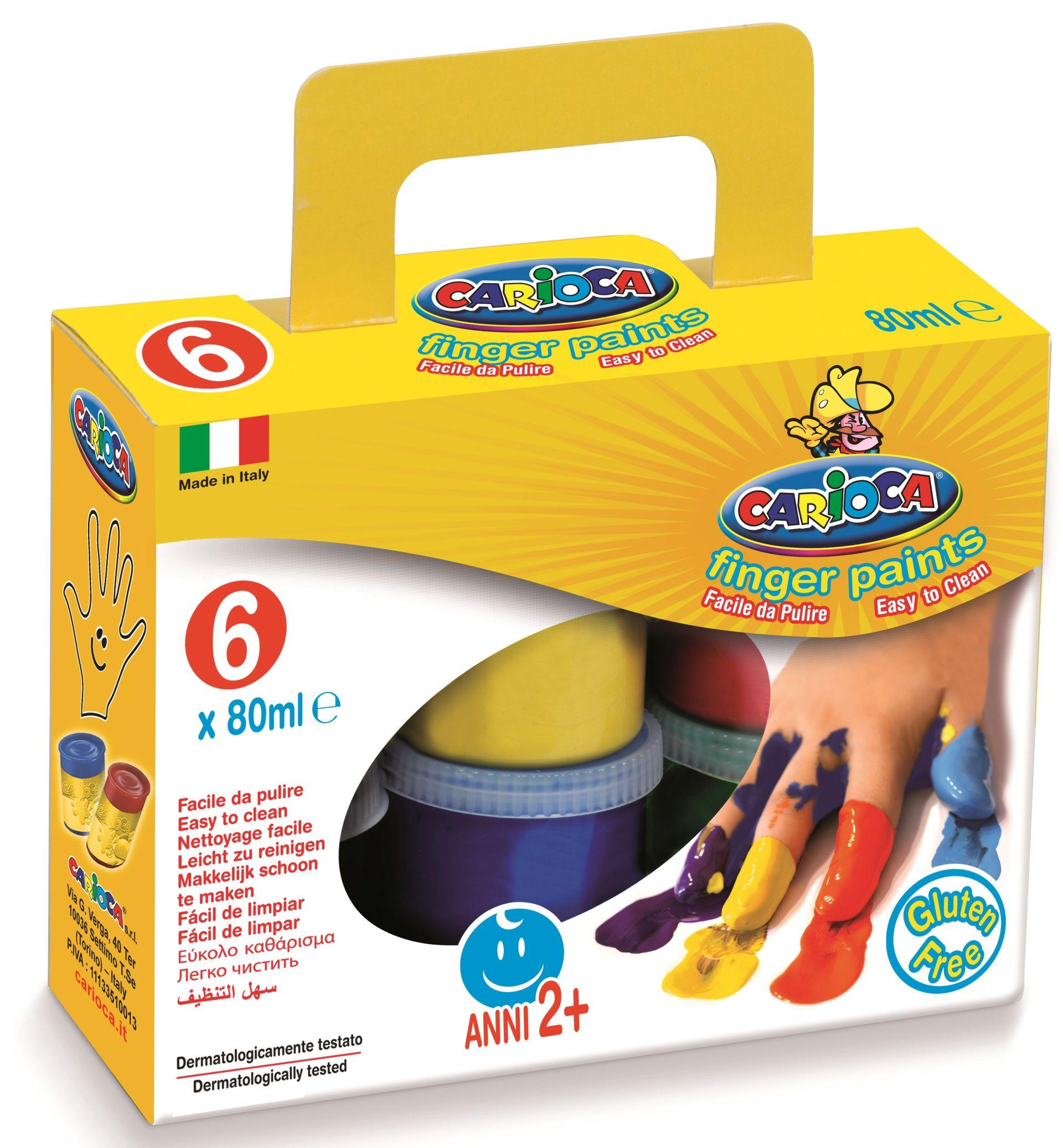 Tempera lavabila, pentru pictura cu mana, 6 culori x 80ml/set, CARIOCA Finger Paint