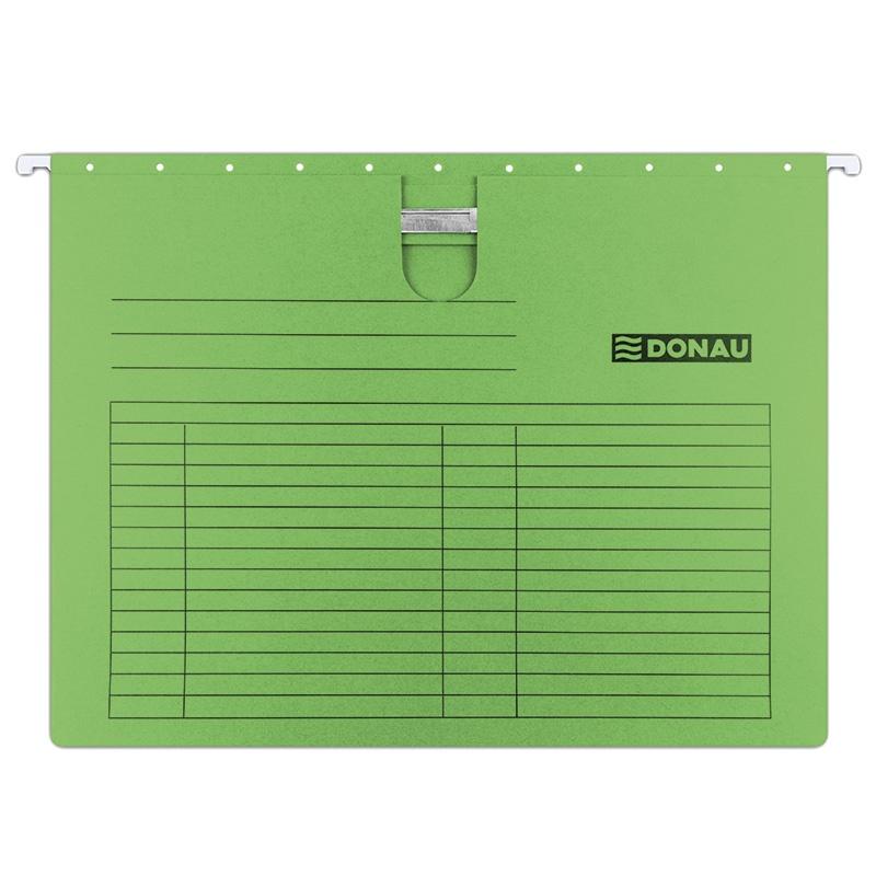 Dosar suspendabil cu sina, carton 230g/mp, bagheta metalica, DONAU - verde
