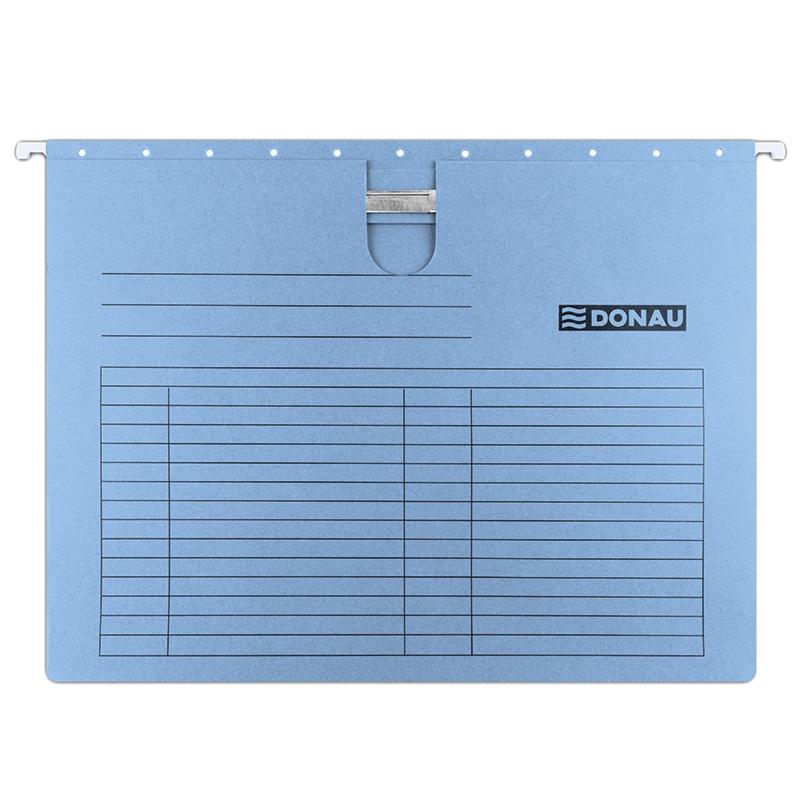 Dosar suspendabil cu sina, carton 230g/mp, bagheta metalica, DONAU - albastru