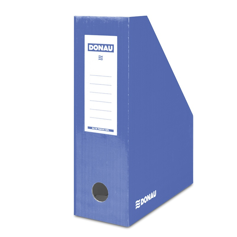 Suport vertical pentru cataloage, A4 - 10cm latime, din carton laminat, albastru, Donau