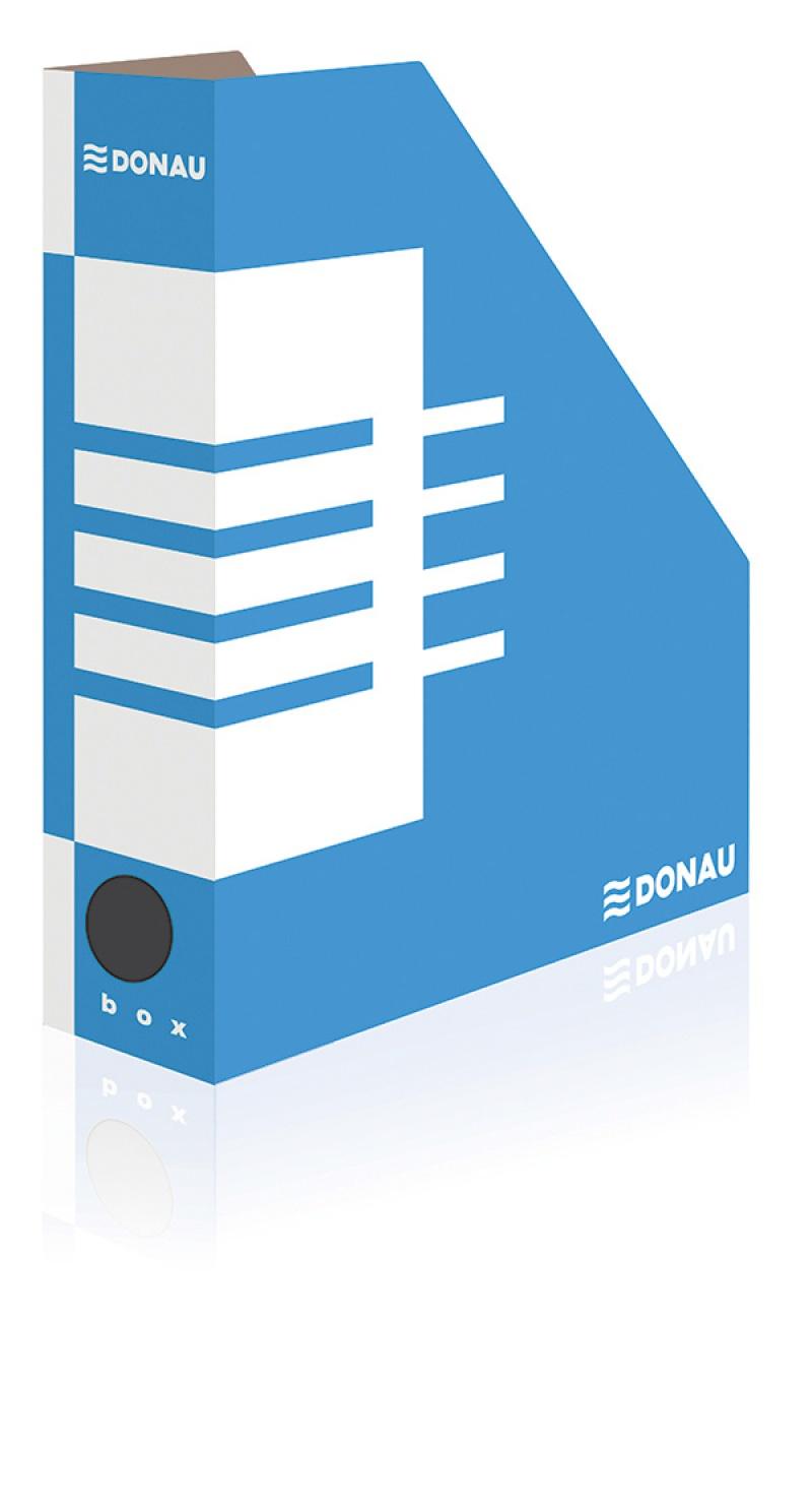 Suport vertical pentru cataloage, A4 -  8cm latime, din carton, albastru, Donau