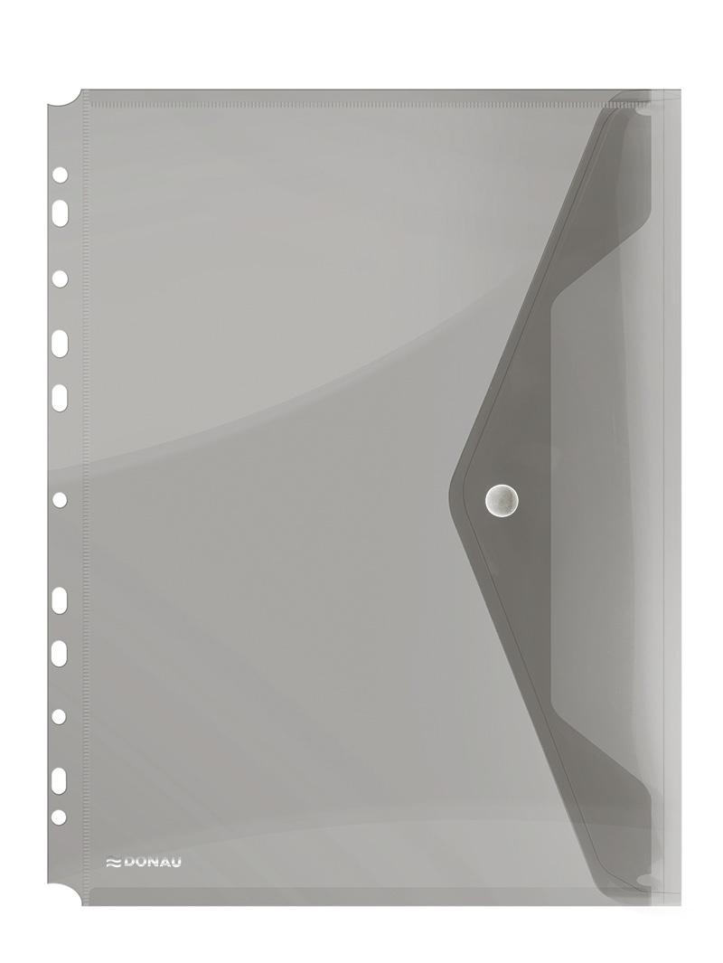 Folie protectie documente A4 portret, inchidere cu capsa, 4/set, 200 microni, Donau - fumuriu
