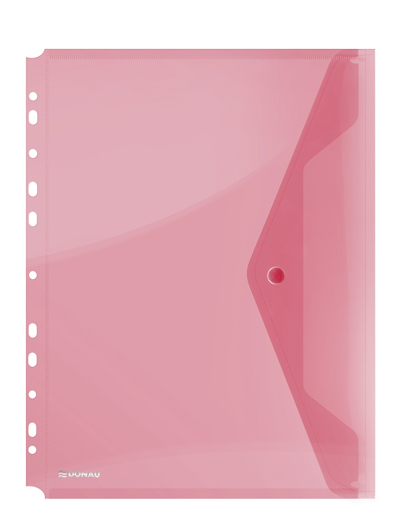 Folie protectie documente A4 portret, inchidere cu capsa, 4/set, 200 microni, Donau - rosu transpare