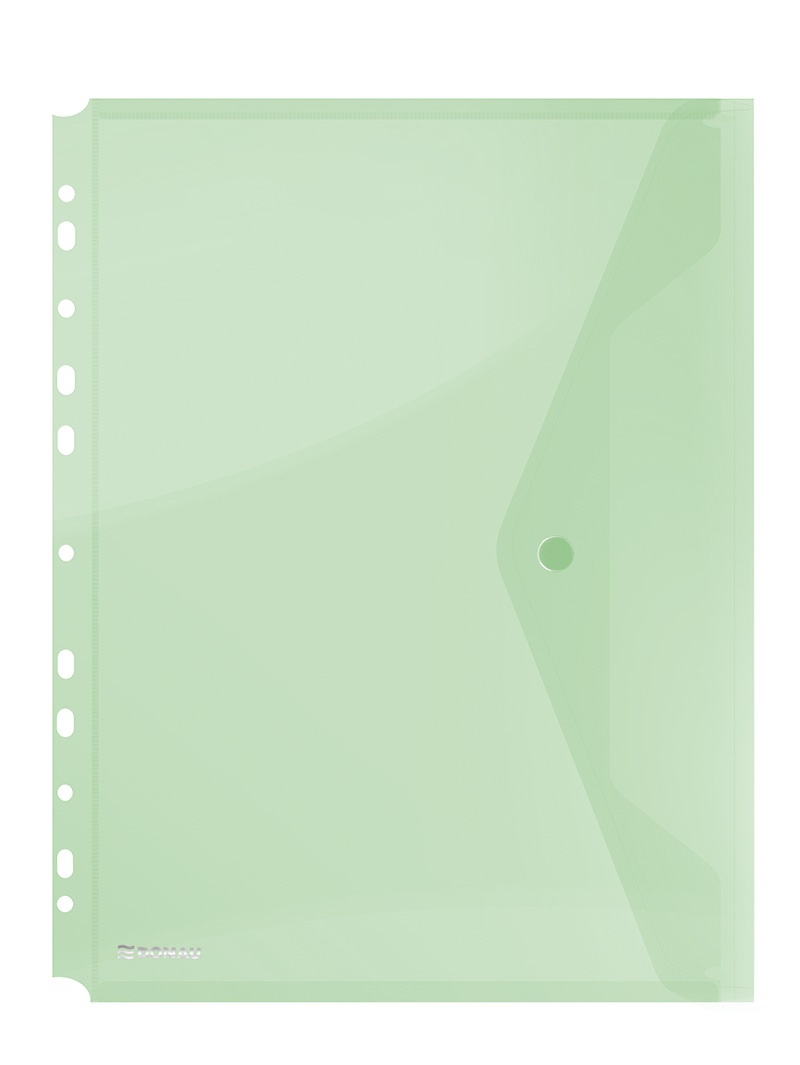 Folie protectie documente A4 portret, inchidere cu capsa, 4/set, 200 microni, Donau - verde transpar