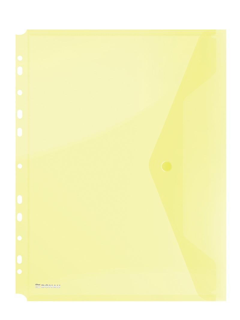 Folie protectie documente A4 portret, inchidere cu capsa, 4/set, 200 microni, Donau - galben transpa