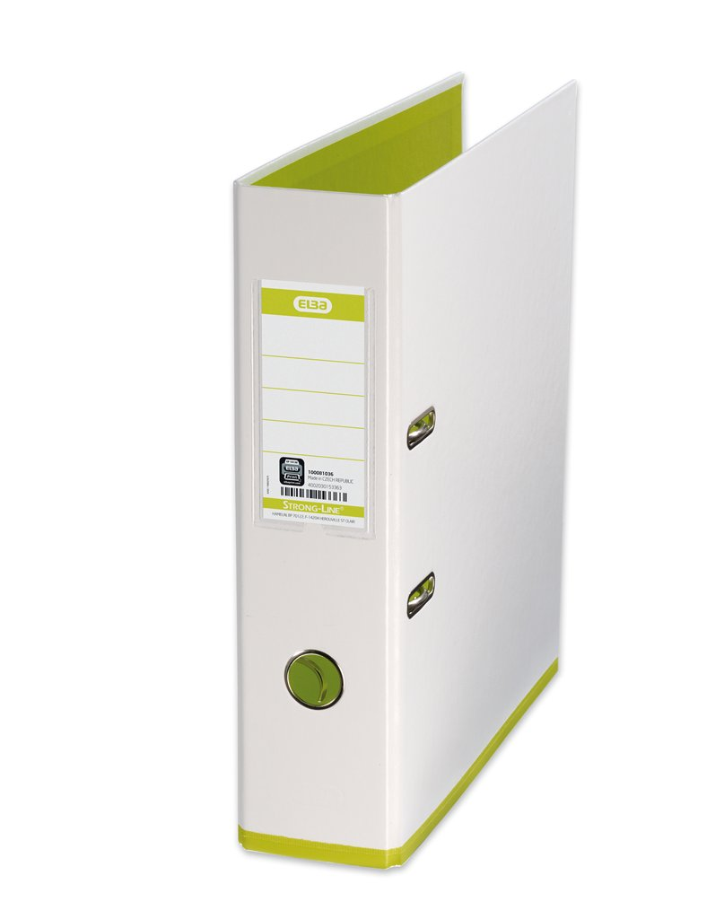 Biblioraft A4, plastifiat PP/PP, 80 mm, Elba MyColour - alb/alb/verde deschis