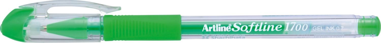 Pix cu gel Artline Softline 1700, rubber grip, varf 0.7mm - verde fluorescent