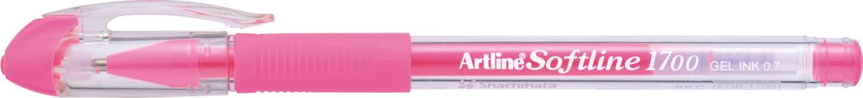 Pix cu gel Artline Softline 1700, rubber grip, varf 0.7mm - roz fluorescent