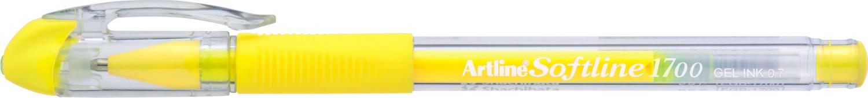Pix cu gel Artline Softline 1700, rubber grip, varf 0.7mm - galben fluorescent