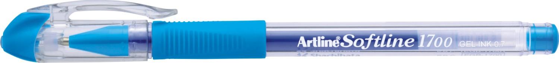 Pix cu gel Artline Softline 1700, rubber grip, varf 0.7mm - bleu