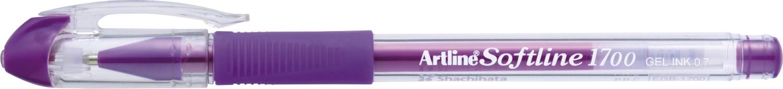 Pix cu gel ARTLINE Softline 1700, rubber grip, varf 0.7mm - mov