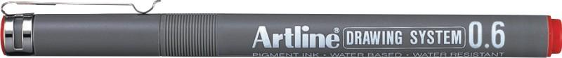 Marker pentru desen tehnic ARTLINE, varf fetru 0.6mm - rosu