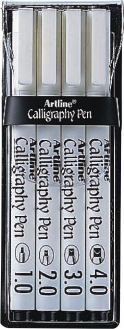 Marker ARTLINE Calligraphy, varf tesit din fetru, 4 buc/set (1.0, 2.0, 3.0, 4.0) - negru