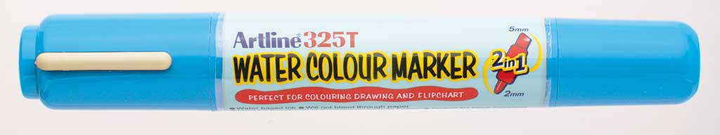 Watercolor marker ARTLINE 325T, doua capete - varf rotund 2.0mm/tesit 5.0mm - bleu