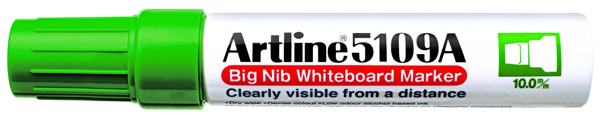 Marker pentru tabla de scris ARTLINE 5109A, corp metalic, varf rotund 10.0mm - verde