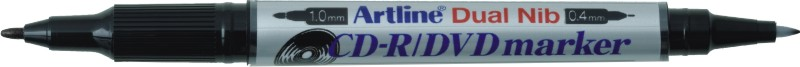 CD/DVD-marker Artline 841T, corp plastic, 2 capete, varfuri rotunde 0.4mm/1.0mm - negru