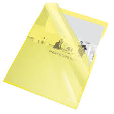 "Mapa ""L"" pentru documente A4, 150 microni, 25/set, Esselte - galben transparent"