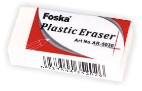 Radiera alba din plastic, 37 x 17 x 10mm, FOSKA