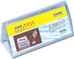 Display nume pentru birou, din plastic, forma A, 100 x 220mm, KEJEA - transparent
