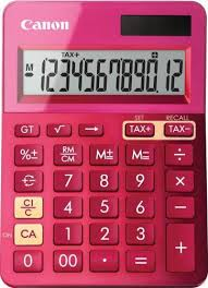 Calculator birou, 12 Digits, CANON LS 123 color , 145 x 104 x 25 mm - roz