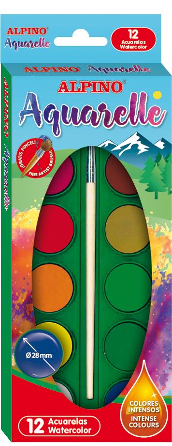 Acuarele 12 culori/cutie + pensula gratis, Alpino