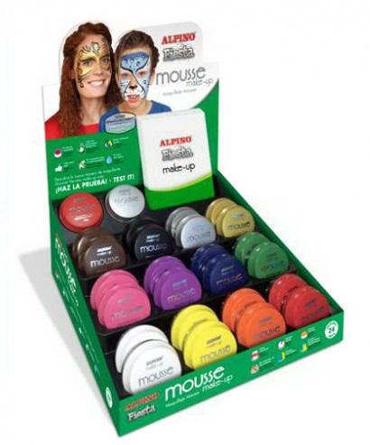 Display spuma machiaj, 14gr., 24 buc/display, ALPINO Make-Up Mousse - 12 culori