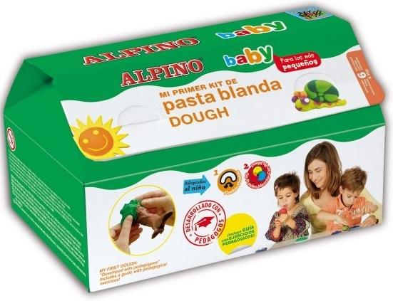 Kit 6 culori x 35gr plastilina +  10 forme modelaj + roller, ALPINO Baby