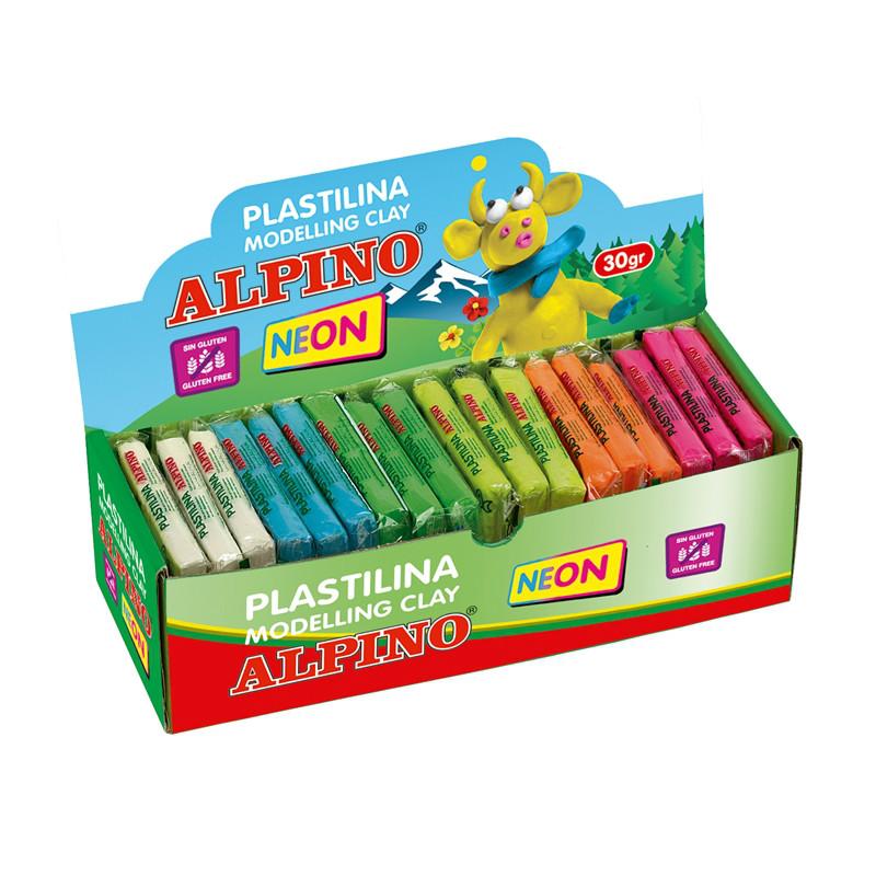 Display plastilina fluorescenta, 36 x 30gr./display, ALPINO -  6 culori asortate