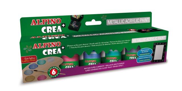 Vopsea acrilica metalizata, rezistenta la apa, 6 culori/set + pensula gratuita, ALPINO Crea+