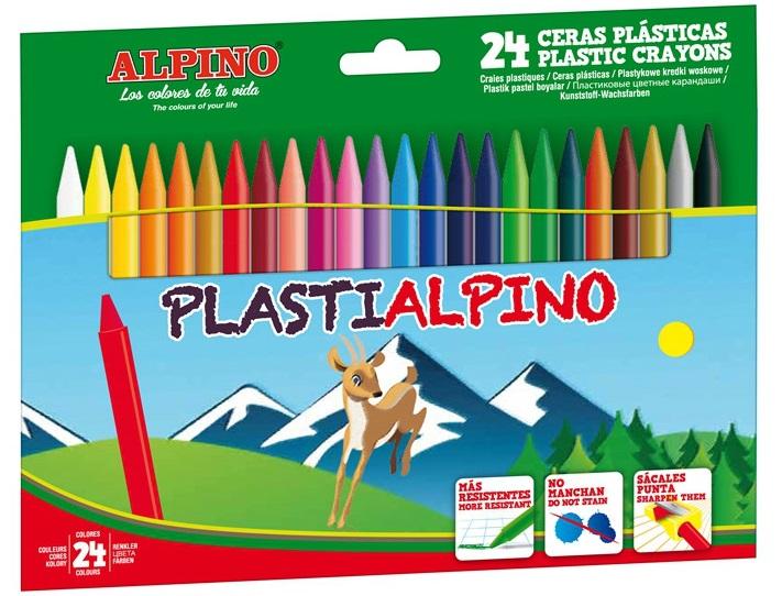 Creioane cerate din plastic, cutie carton, 24 culori/cutie, Plasti ALPINO