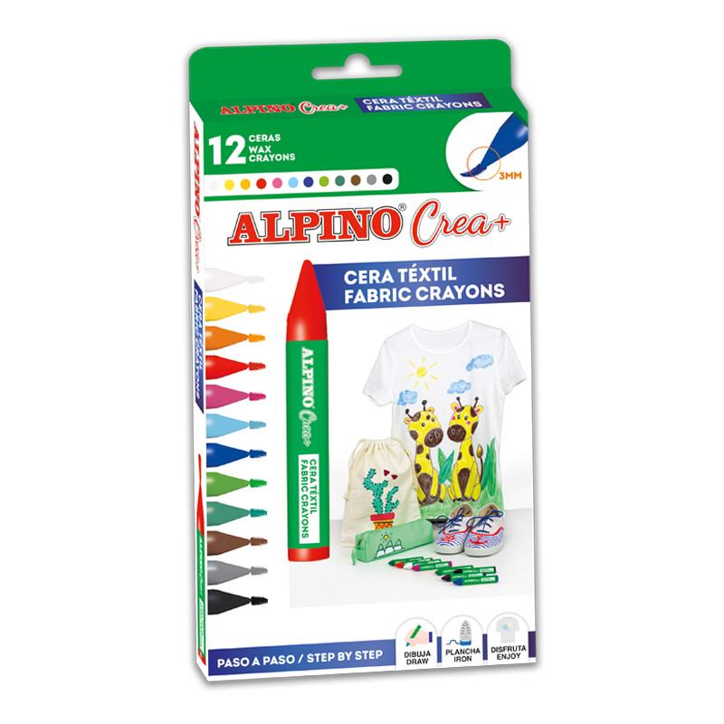 Set ALPINO Crea + TEXTILE - creioane cerate