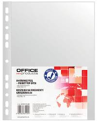 Folie protectie pentru documente A4, 30 microni, 100folii/set, Office Products - transparenta