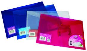 Mapa protectie documente, folio landscape, cu 2 buzunare si capsa, 5/set, PUKKA - transparent albast