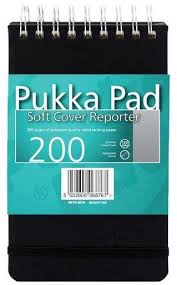 Blocnotes cu spirala 140 x 205mm, 100 file 120g/mp, coperti soft, PUKKA Reporter - dictando - hartie