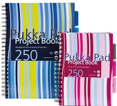 Project Book A4, 125 file 80g/mp, cu spirala dubla, coperti carton rigid, PUKKA Stripes - dictando
