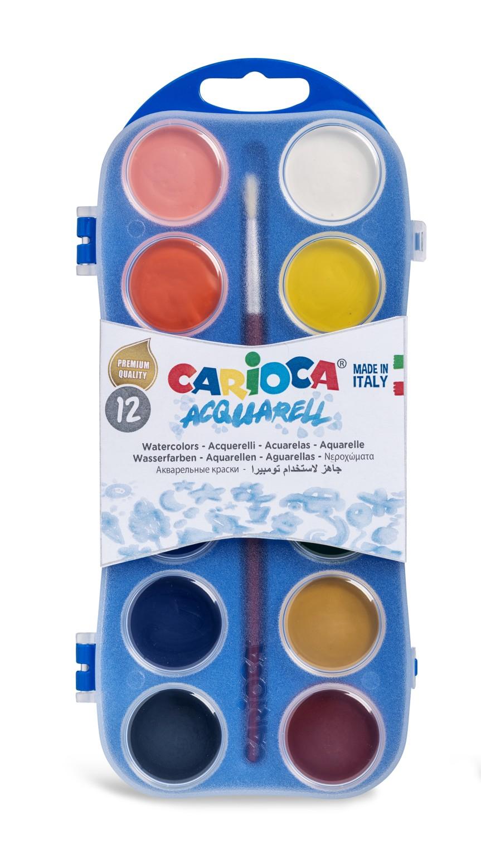 Acuarele lavabile, 12 culori/cutie 1 pensula, Carioca Aquarell